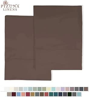 Pizuna 400 Thread Count Cotton Standard Pillowcases Cherry Brown 100% Long Staple Cotton Soft Satin Pillowcase with Stylish 4 inch Hem Set of 2 Pillow Cover (Reddish Brown Standard Cotton Pillowcases)