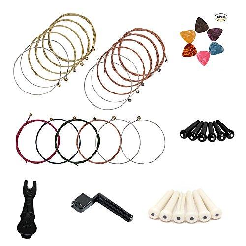 3 set di 6 corde per chitarra acustica, inclusi rossi, gialli e multicolori, regali allegati tra cui avvolgitore di corde, estrattore perni, perni in plastica per ponti e plettri per chitarra