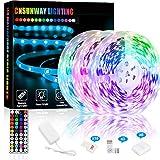 Bande LED RGB, 15M IP65 étanche 24V 5050 Ruban LED Bandes Lumineuse, à 44 Touches Télécommande RF, pour Décoration Intérieure Extérieure Bar, Chambre, TV, Fête