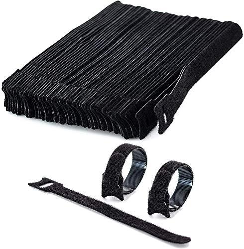 50 Stück Klett Kabelbinder wiederverwendbar - 15 cm lang (schwarz) Klettband Klettverschluss Kabelbinder in Premium Qualität
