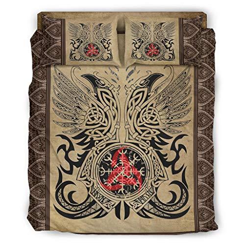 LIFOOST Juego de cama de 4 piezas, diseño vikingo, tatuaje, elegante, transpirable, color blanco, 203 x 230 cm