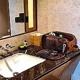 Kulturbeutel PU-Leder für Reise Herren, große wasserdichte Waschtasche Männer, Kulturtasche im Badezimmer/Fitnessstudio, Kosmetiktasche mit einem kostenlosen Nass-Trockenbeutel (S-Braun) - 5