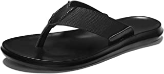 HongJie Hou Slippers for Men Flip-Flops Casual Slip On Style PU Leather Fashion Woven Texture Fresh and Simple Pure Color (Color : Black, Size : 7.5 UK)