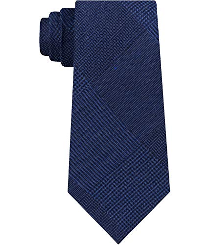 Kenneth Cole Mens Updated Glen Self-tied Necktie, blue, One Size