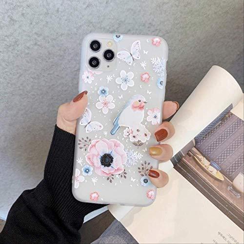SSICA Funda de teléfono Pintada en Relieve 3D para iPhone 11 Pro 7 8 Plus 6 6s XS MAX XR SE2 Relieve Flor de Silicona Suave Proteger los Casos de la contraportada para iPhone XR 04