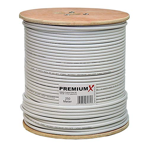 PremiumX Basic 250 m Koaxialkabel 135 dB 4-Fach geschirmt CCS Kupfer-Stahl Satelliten Koaxkabel Antennenkabel Digital SAT TV Koax Kabel RG-6 Class A 250m auf Holz-Trommel