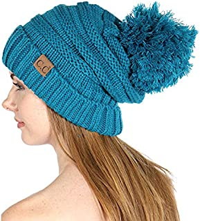 Knit Beanie Hat, Soft Warm Cable Winter Chuncky Cap, Oversized Slouchy Stretching, Pompom, for Women
