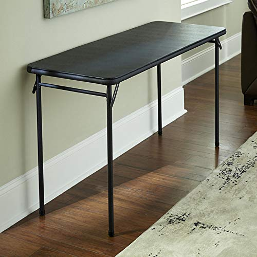 "COSCO 20"" x 48"" Vinyl Top Folding Table, Black, 1-pack"