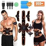 PiAEK Electroestimulador Muscular Abdominales EMS, Estimulación Muscular USB Recargable ABS Trainer para Abdomen/Brazo/Piernas