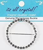 Genuine Rhinestones Buckle - Silver Finish Metal Slider Buckle - Crystals in Round Setting for Wedding Supply Dress Invitations Evening Wear Doll Renaissance Outfit Gift Wraps-1 Pc