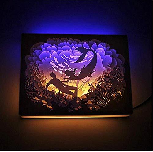 Layyyqx Shadow Paper Sculptures Light Mermaid Paper-Cut 3D Night Light Pour La Maison Blanc