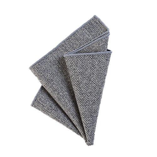DonDon fazzoletto da taschino 23 x 23 cm per uomo di plaid e tweed di cotone grigio