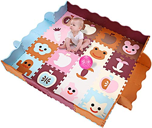Profun Alfombras Puzzles para Niños Alfombra Bebé Gruesa 40pcs(32cmx32cm) de Espuma EVA para Juego Infantil en Suelo(con Valla(40pcs Marrón&Rosa&Azul))