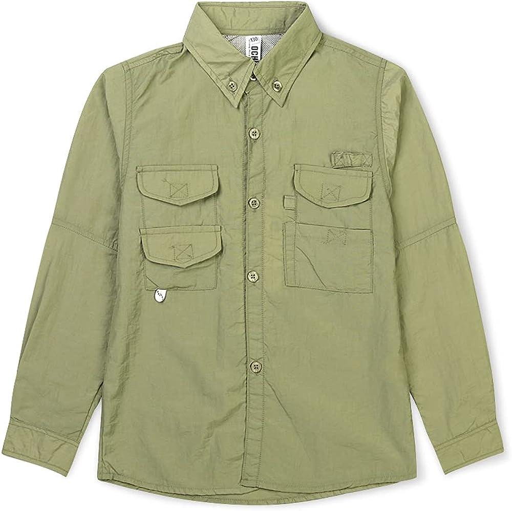 OCHENTA Boys' Long Sleeve Fishing Shirt, Quick-Dry UV Sun Protection Outdoor Tops