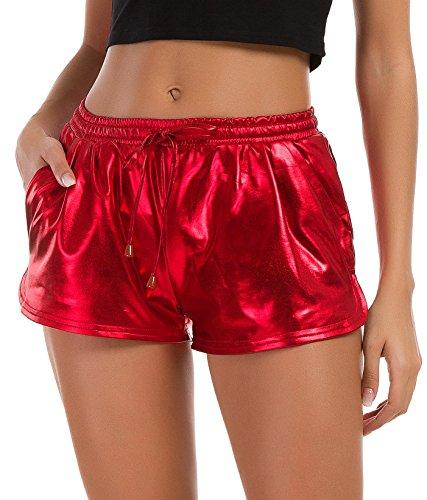 Tandisk Women's Yoga Hot Shorts Shiny Metallic Pants with Elastic Drawstring Red S