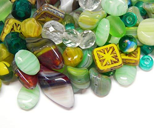 Preciosa - Cuentas de cristal Boehmisches de 100 g, mezcla de cristal, cristal checo, multicolor, juego de manualidades para la fabricación de joyas (juego de 2)