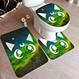 Sailor Moon Crystal Luna Cat Face Silhoutte Toilet Bathroom Rug Mats Set 3 Piece, Antiskid Pad Carpet