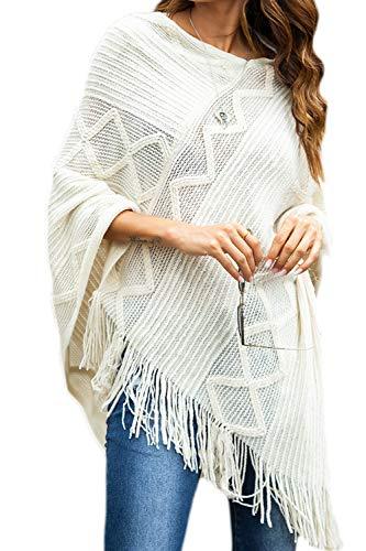 Mujeres Suéter Poncho Cabo Suéter con Flecos Crochet Punto Superior Blanco XL