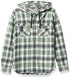 Carhartt Women's Relaxed Fit Flannel Hooded Plaid Shirt, Fog Green, X