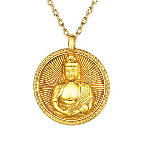 Women Buddha Vairocana Necklace Patron Chinese Zodiac Sheep Monkey Pendant 18K Gold Plated Sterling Silver Bodhisattva Amulet/Talisman Lucky Jewelry Buddhism Zen Pendant Necklace
