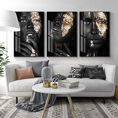 KWzEQ Stilvolle goldene Schwarze Frau Leinwand Malerei Poster skandinavische Wandkunst Dekoration,Rahmenlose Malerei,30x45cm