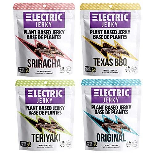 Electric Jerky 1.0 - Plant Based Vegan Jerky - Variety 4 Pack - (Original, Teriyaki, Sriracha, Texas BBQ)