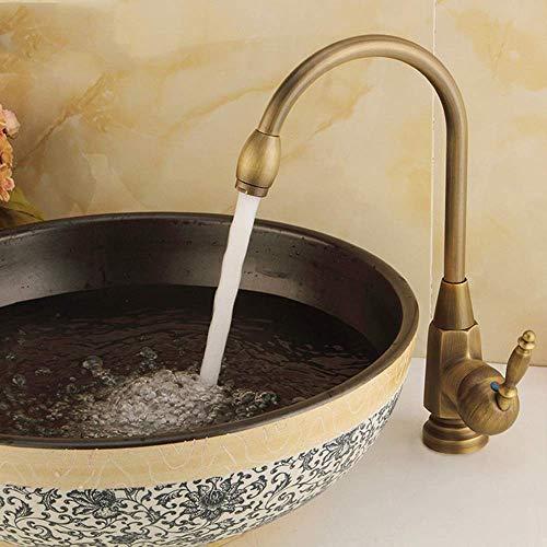 Yongenee Estilo Europeo del Cobre retro caliente y frío del agua mezclada baño grifo casa de antigüedades de cocina giratoria de bronce antiguo de un solo orificio encima del contador del grifo del la