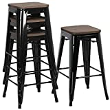 Yaheetech 26Inch Seat Height Metal Bar Stools Dining Stools Chairs with Wood Seat/Top Indoor/Outdoor Stackable Barstools Set of 4, Black