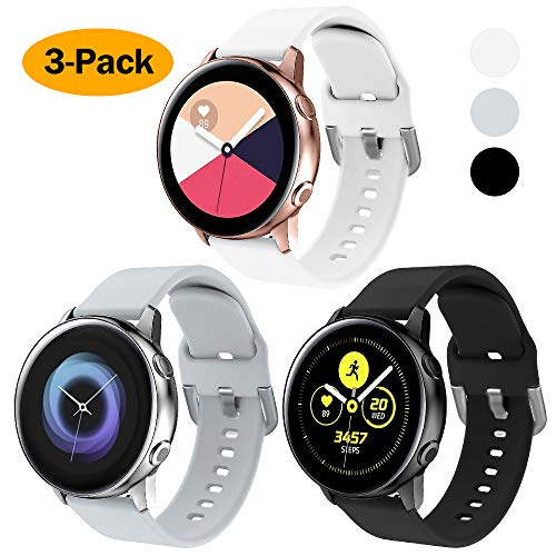 XIMU kompatibel mit Samsung Galaxy Watch Active 40mm Armband/Galaxy Watch 42mm Armband, weiche Silikon Sport Bügel Frauen Männer für Galaxy Watch (Schwarz & Weiß & Hellgrau, S(6''-7.5''))