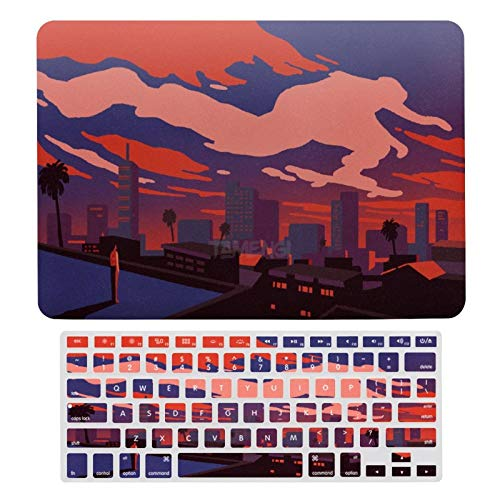 Plastic Hard Shell Case & Keyboard Cover Compatible with MacBook Air 13 inch/MacBook Air Pro 13' (Models: A1369 & A1466/ A2159/A1989/A1706), Art Illustration Red Sky