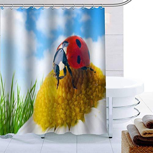 Brandless Ankunft MarienkäFer Tier Duschvorhang 12 Haken Polyester Stoff 3D-Druck Bad Vorhang Wasserdicht Bad Vorhang Dekor-B180xH200cm