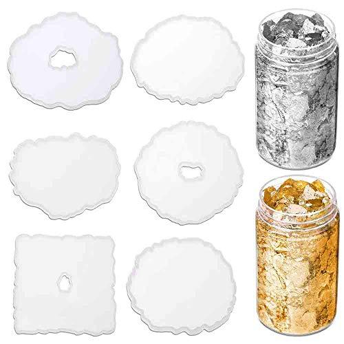 6 piezas Molde de resina de silicona para colada de resina con 2 colores de láminas de oro para posavasos de resina