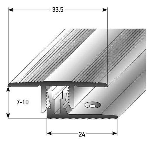 Klick-Übergangsprofil Laminat / Parkett, 7 - 10 x, 33,5 mm, Alu. Eloxiert, silber