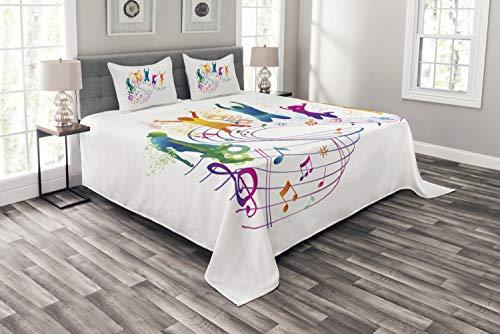 ABAKUHAUS Jugend Tagesdecke Set, Tanzen Menschen Musik, Set mit Kissenbezügen Moderne Designs, für Doppelbetten 264 x 220 cm, Multicolor