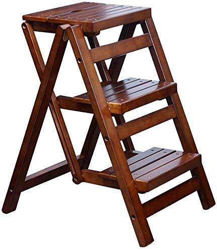 GDFEH scala scala in legno massello per la casa scaletta creativa in legno sgabello pieghevole a 3 gradini in legno, facile da riporre, scaffalatura pieghevole