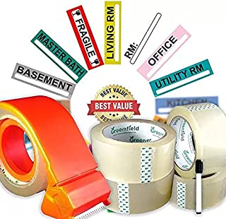 Moving Supplies Set | 200 Color Coded Moving Labels For Moving Boxes | 4 Heavy Duty Packing Tape Rolls | Tape Dispenser | Permanent Marker | Packing Storage Stickers
