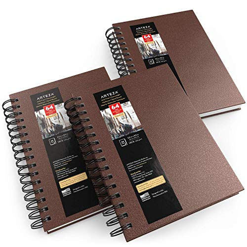 Arteza Watercolor Sketchbooks, 5.5x8.5-inch, 3-Pack, Brown Hardcover Journal, 96 Sheets, 140lb/300gsm Watercolor Paper Pad, Spiral Bound Book for Watercolor, Gouache, Acrylics, Pencils, Wet/Dry Media