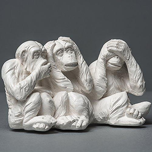 Die DREI weisen Affen Skulptur aus hochwertigem Zellan, echte Handarbeit Made in Germany, Tierskulptur in weiß, 14cm