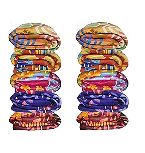 Goyal's Polar Fleece Single Bed Blanket Printed (Pack of 10), Multicolour