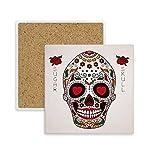 DIYthinker Coaster Cirrus Eyes White Square cráneo del azúcar de la Flor de la Taza Titular de Piedra Absorbente para Regalo Bebidas 2pcs