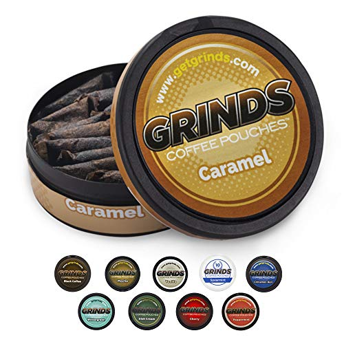 Grinds Coffee Pouches | 6 Cans of Caramel | Tobacco Free, Nicotine Free Healthy Alternative | 18 Pouches Per Can | 1 Pouch eq. 1/4 Cup of Coffee (Caramel)