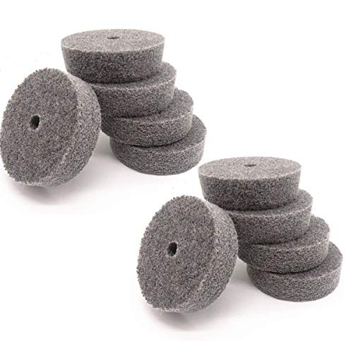 "COMOK 10Pcs 75mm/3"" Diameter Grit Nylon Fiber Polishing Buffing Wheel For Various Metal Parts (Dark Gray)"