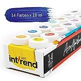 int!rend Acryl Farben Set Künstlerfarben mit Pinsel 14 Acrylfarben x 18 ml für Kinder & Erwachsene, wasserfest für Leinwand, Holz, Ton, Papier - 3