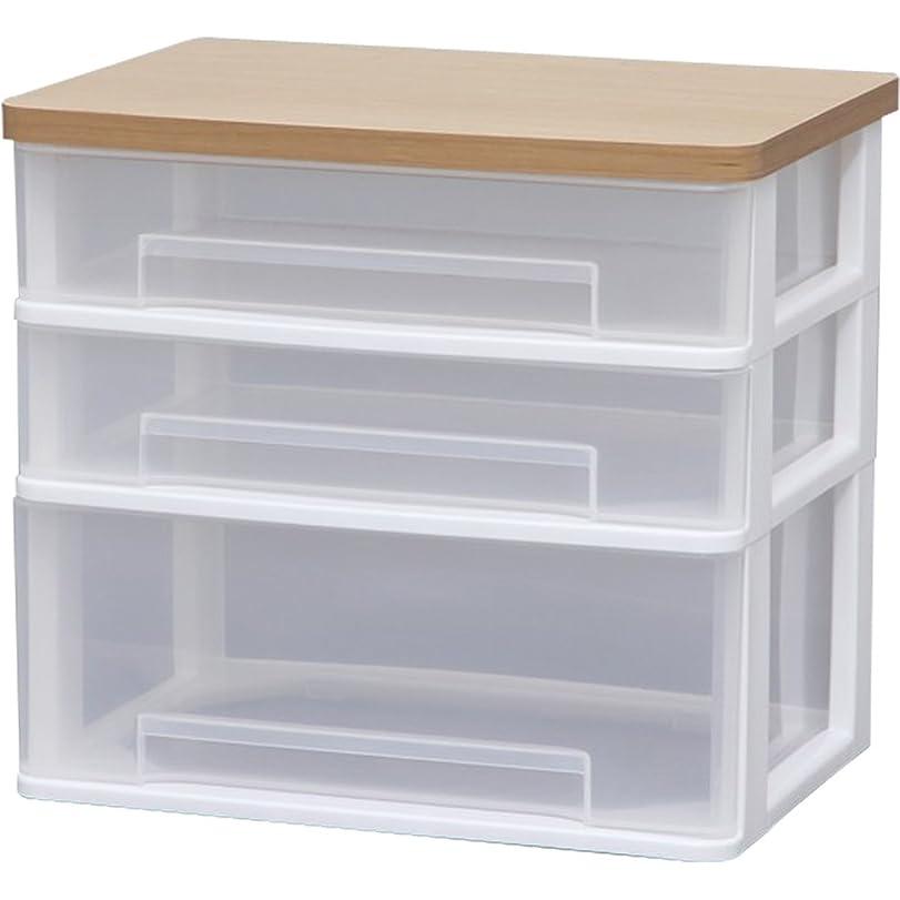 発明ブルジョンセンサーアイリスオーヤマ チェスト テーブルチェスト ワイド 木天板 幅36.6×奥行26.3×高さ32.9cm ホワイト WET-W421