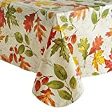 Fall Vinyl Tablecloth Flannel Backed, Colorful Falling Autumn Leaves Print, (60 x 84 Rectangle)