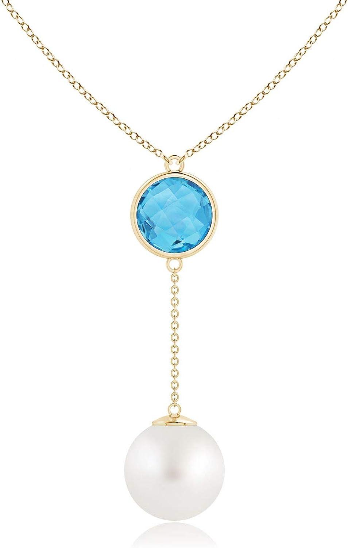 South Sea Cultured Pearl & Swiss Blue Topaz Lariat Necklace (12mm South Sea Cultured Pearl)