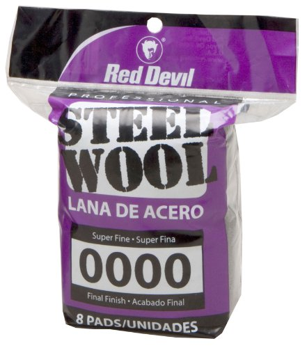 Red Devil 0320 Steel Wool, 0000 Super Fine, (Pack of 8)