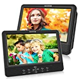 WONNIE 10.5 '' Double Lecteur DVD Portable Voiture 1024 * 600 avec de Puissants Haut-parleurs stéréo, Batterie Rechargeable Intégrée de 5 Heures, Prise en Charge USB/SD/AV in/AV Out