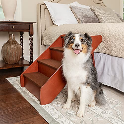 PetSafe CozyUp Folding Wood Pet Steps - Dog and Cat Stairs - Lightweight Durable Wooden Frame Supports up to 200 lb - Side Rails and Non-Slip Feet Provide Added Security - 25 inches
