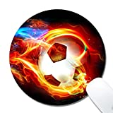 Rolay Up Flame Soccer Pattern Mouse Pad Round Thick Keyboard Mouse Mat Nonslip Nature Rubber for Gaming Office Working